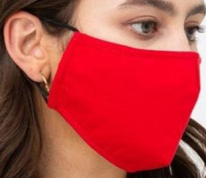 Face Mouth Nose Mask Cover Protection Reusable Cotton Blend Five Layer Filter Adjustable One Size Unisex Red