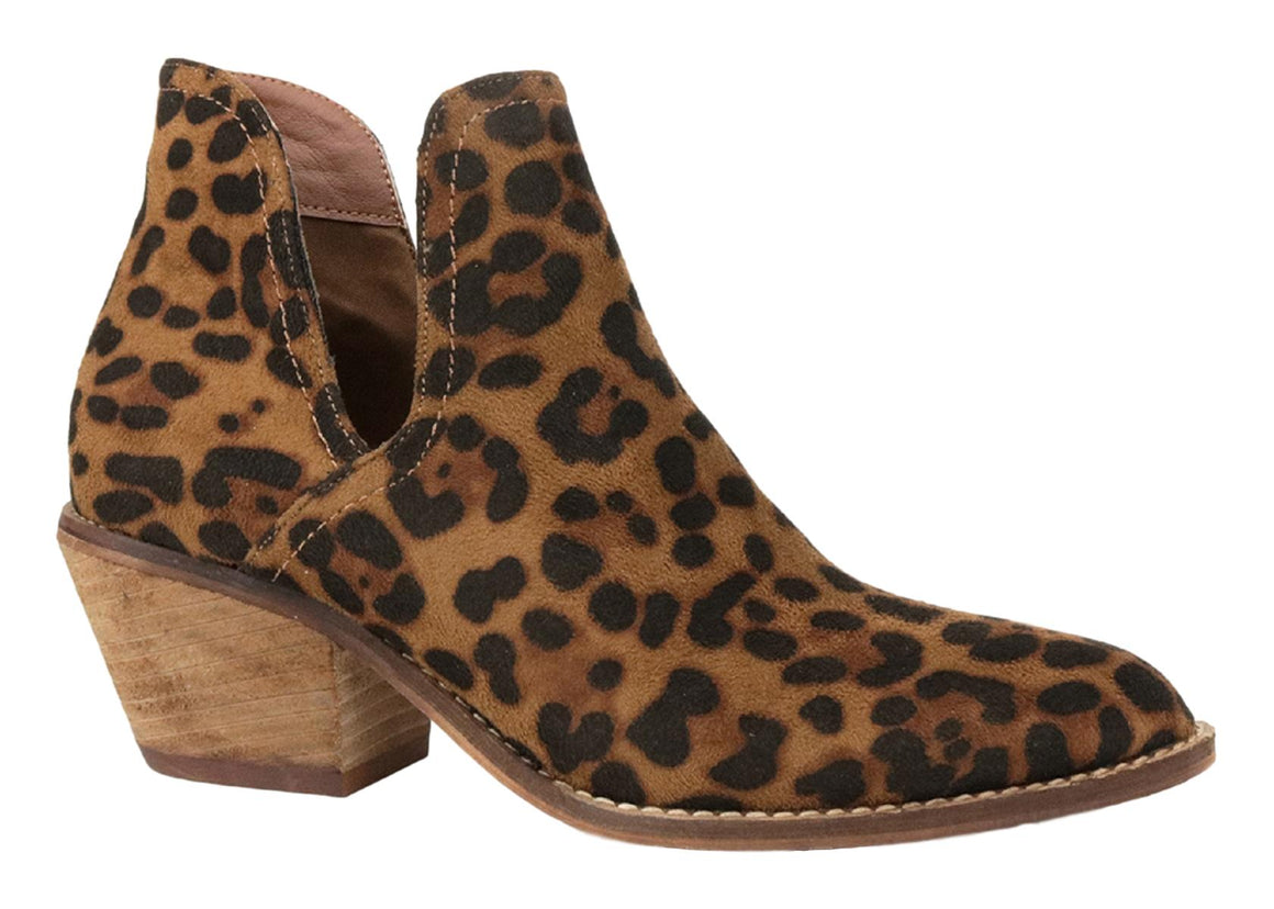 Sunny-01 Women Western Short Ankle Pointed Toe Booties Boots Leopard