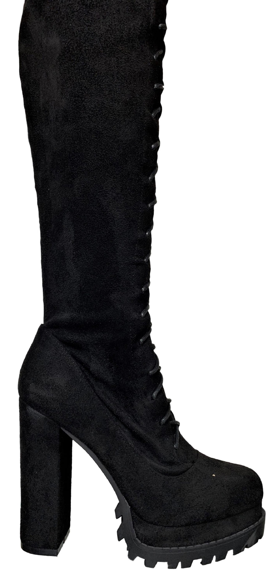 Vivian-11 Women Faux Suede Over Knee Lace Up Side Zipper Platform Lug Sole Chunky Block Heel Combat Boots