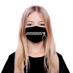 Face Mouth Nose Mask Cover Protection Reusable Cotton Blend Five Layer Filter Included Unisex Adjustable One Size Zipper Design