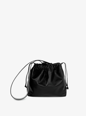Black leather bucket bag designed in Australia by sixty six studio.