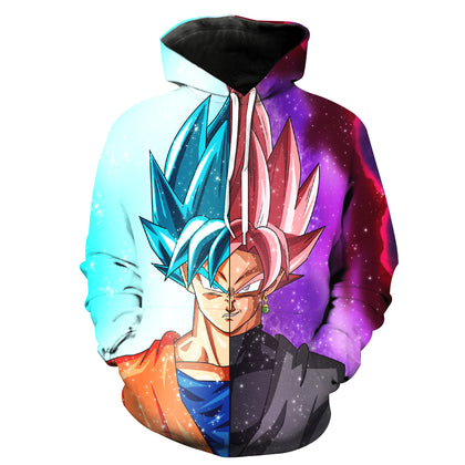 SUPER SAIYAN ROSE BLACK GOKU AND BLUE GOKU HOODIE - 3D PULLOVER HOODIE