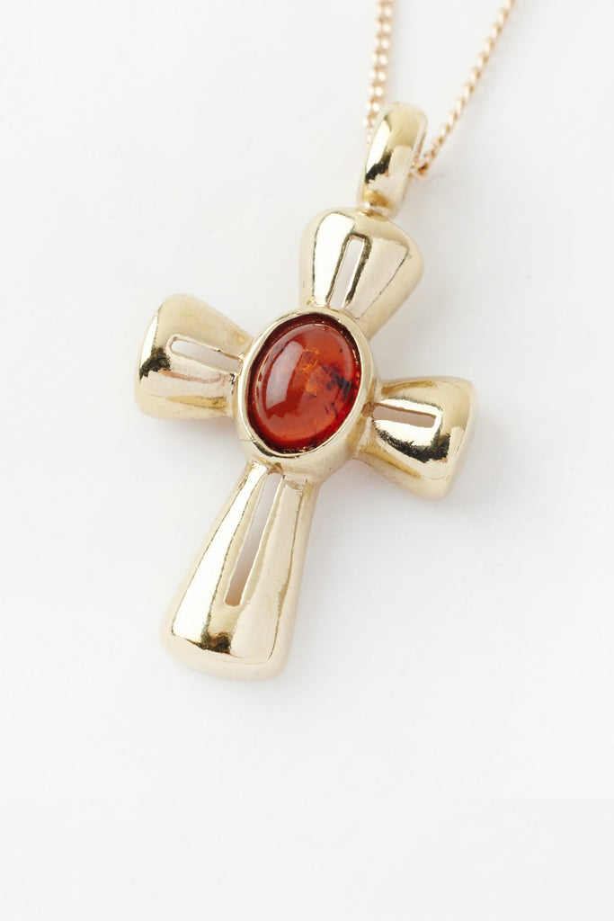 Amber Cross Necklace