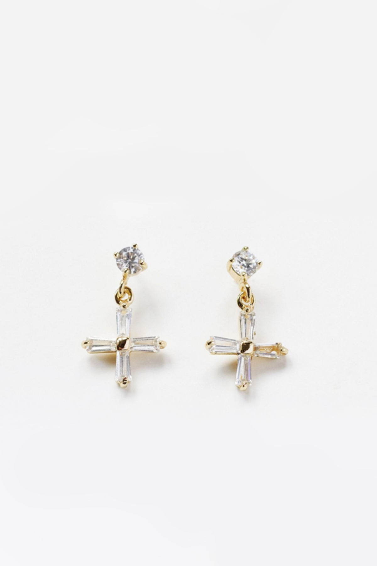Mini Cross Earrings Clear
