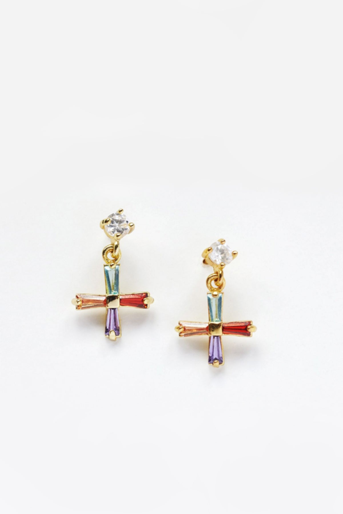 Mini Cross Earrings in Multicolour
