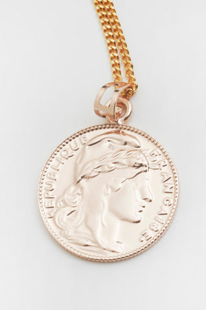 Mini Lucky Coin Pendant in Gold