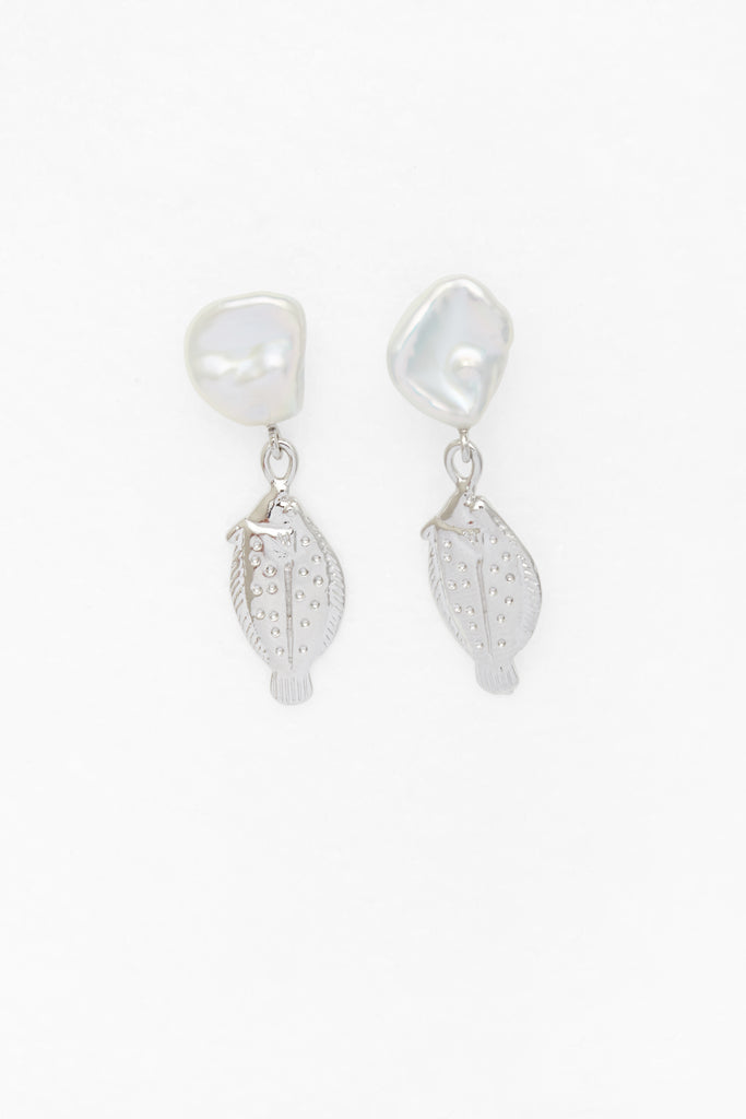 Petite Fish and Pearl Earrings in Silver