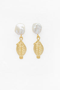 Petite Fish and Pearl Earrings in Gold