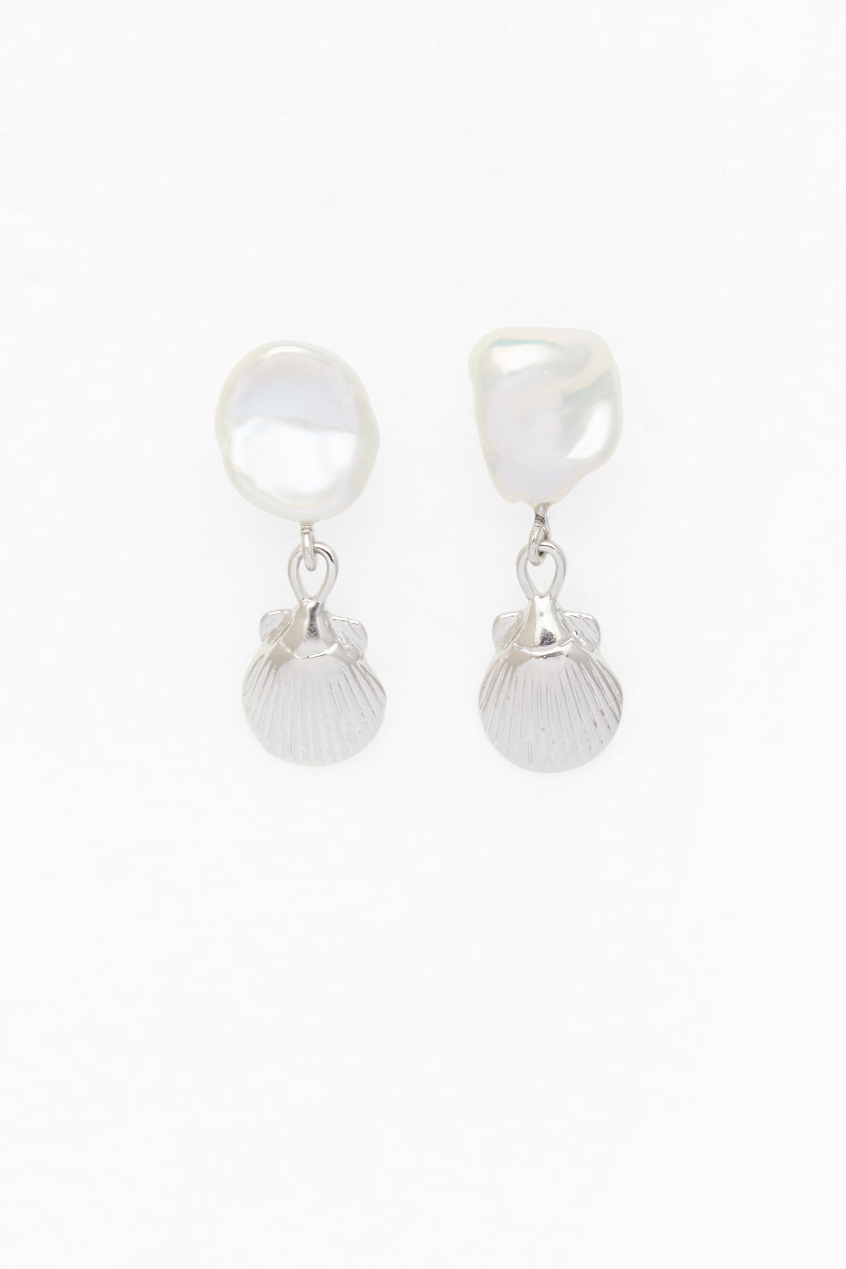 Petite Seashell and Pearl Earrings in Silver