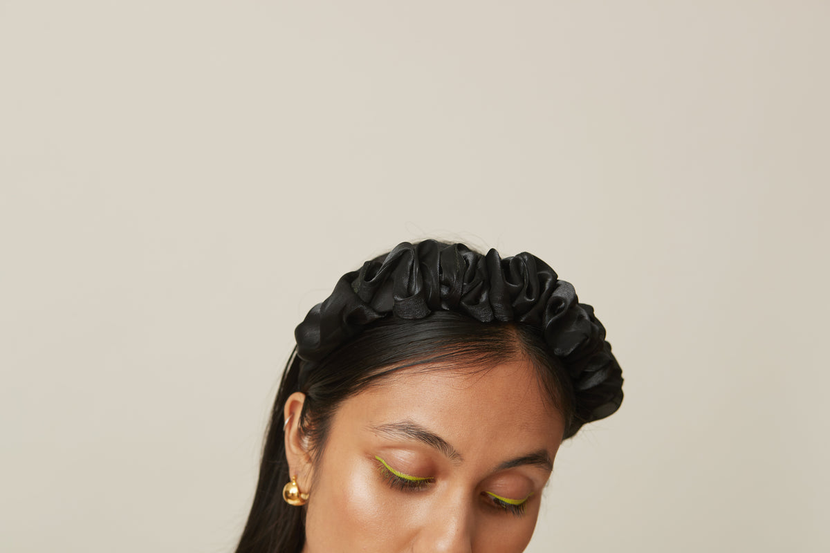 Organza Ruffled Headband Black