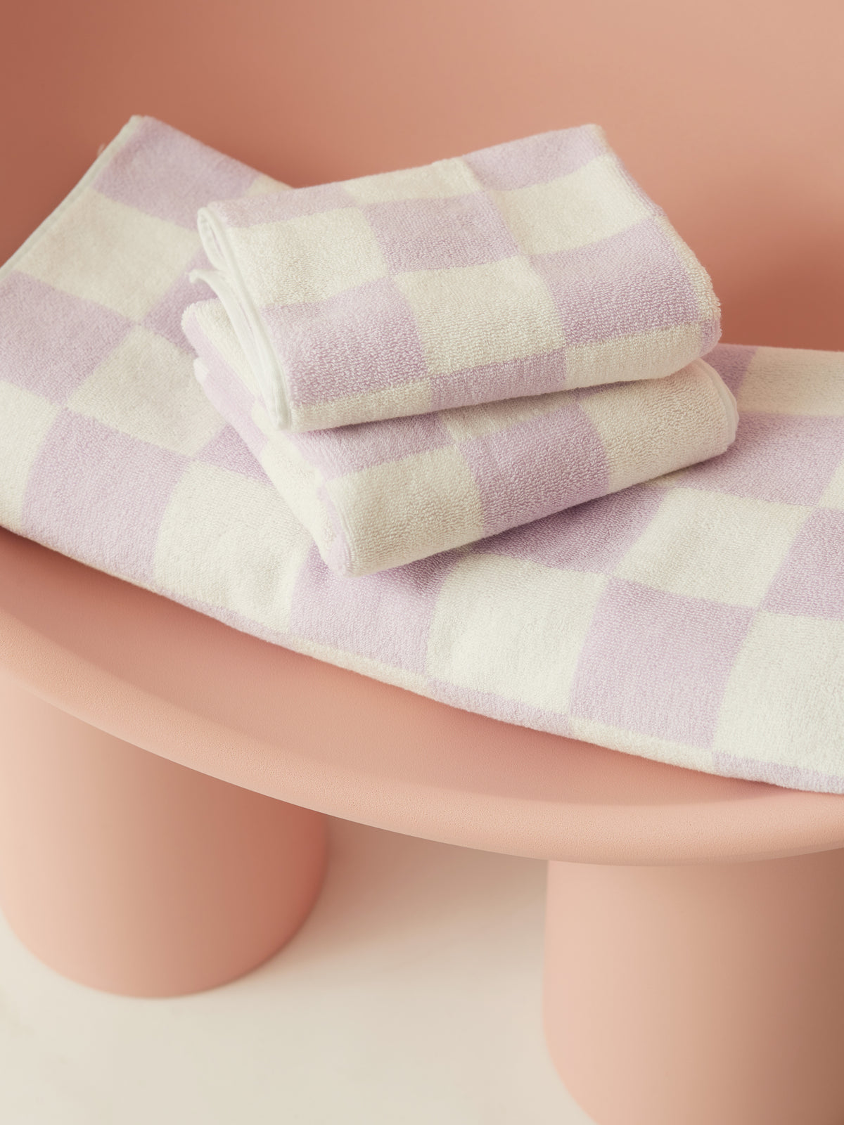 Big Check Towel Set Lilac PRE-ORDER