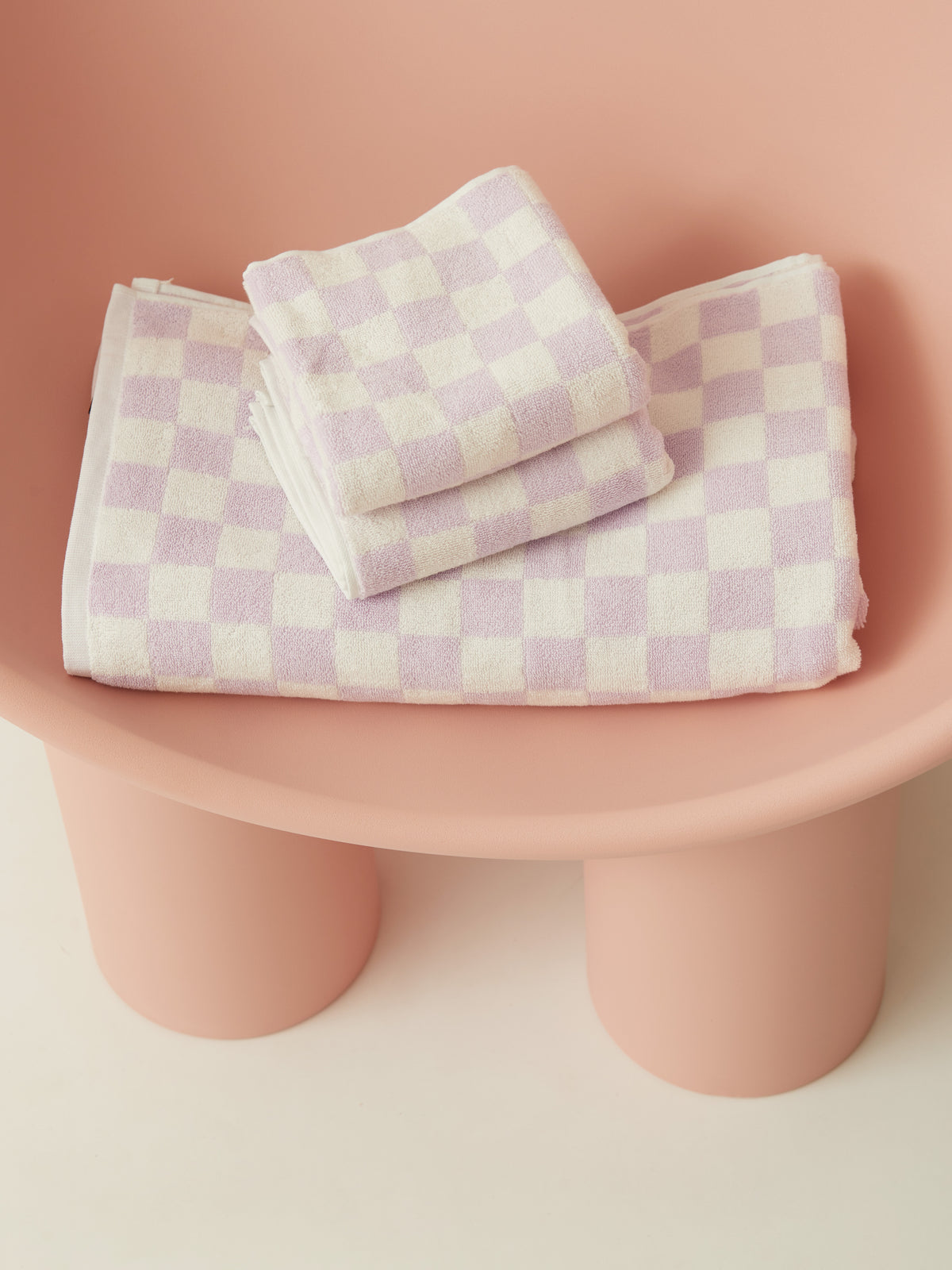 Small Check Towel Set Lilac PRE-ORDER