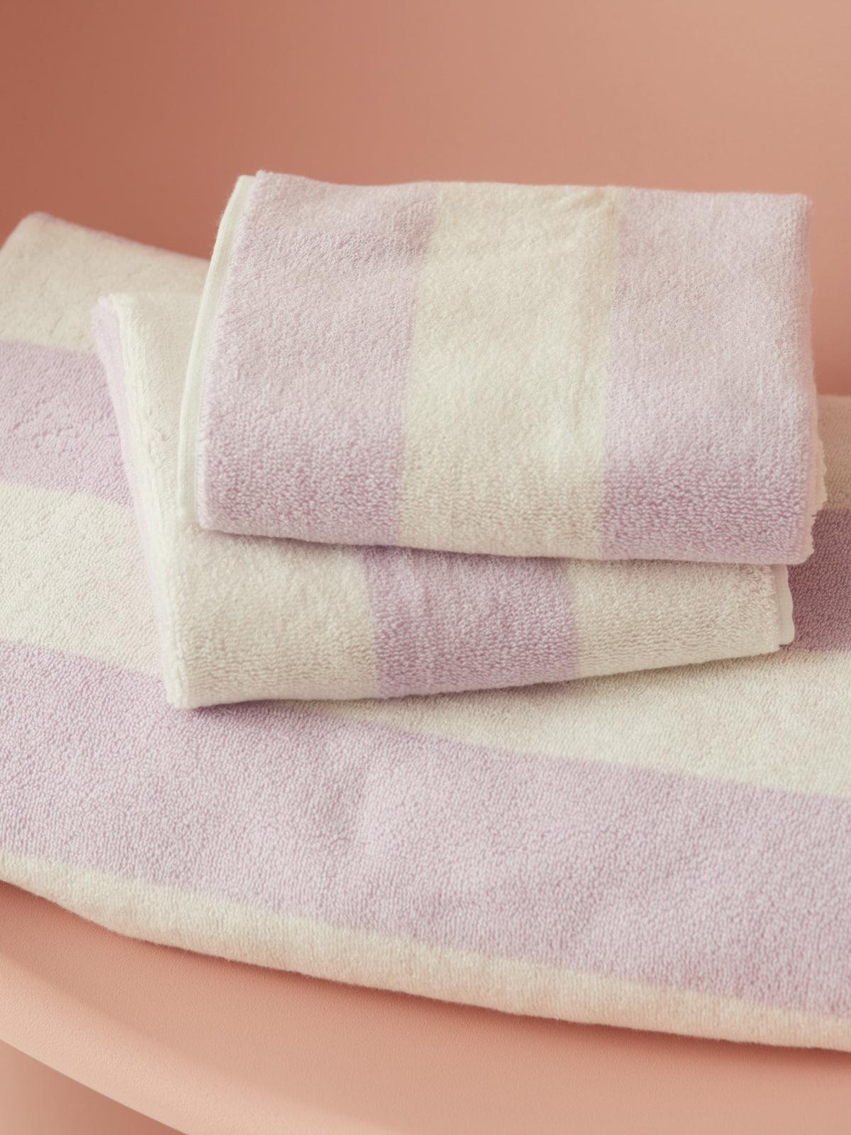 Towel Set Wide Stripe Lilac