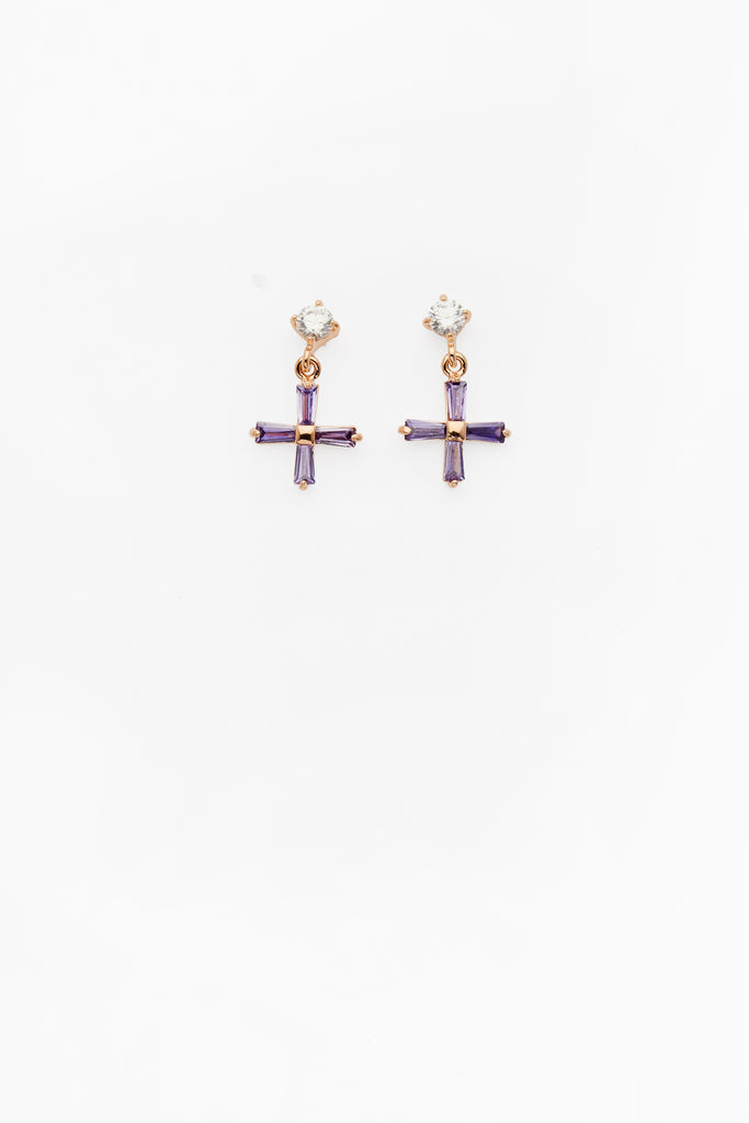 Mini Cross Earrings Lilac