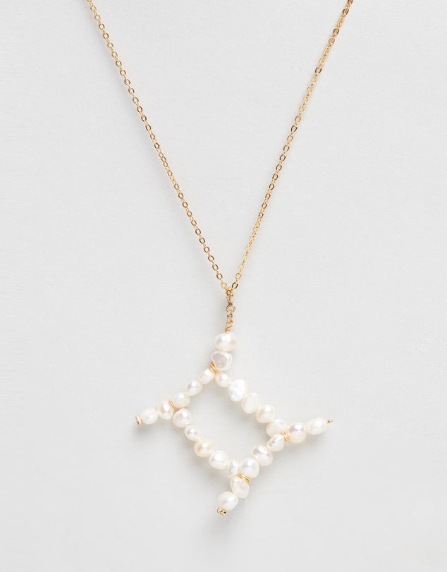 Pearl Zodiac Necklace Gemini