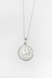 Mini Lucky Coin Pendant in White Gold