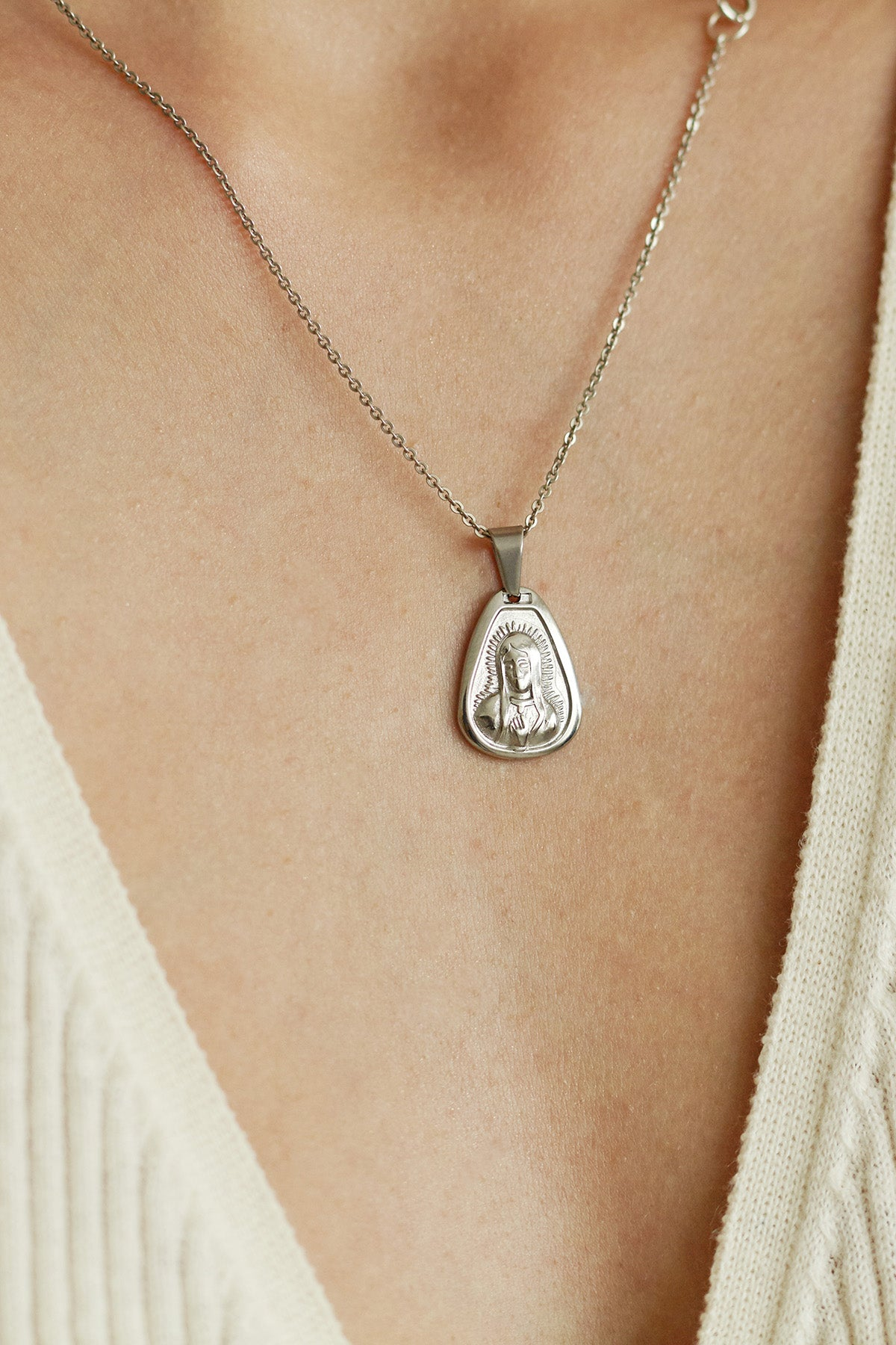 Silver Mary Necklace
