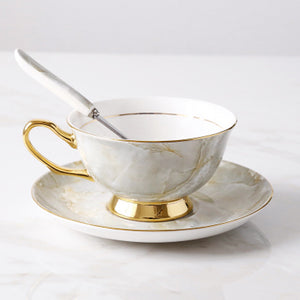 Granite Grey Teacup & Saucer Set