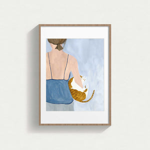 Life With Cat Framed Canvas Art