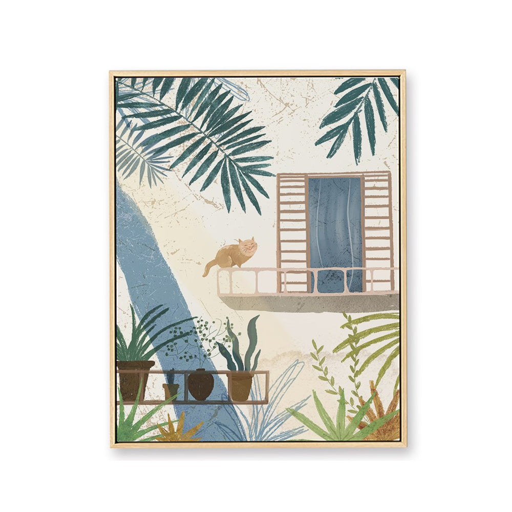 Cat On Balcony Framed Canvas Art