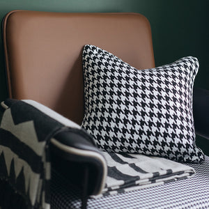 Houndstooth Grid Cotton Cushion