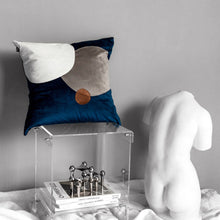 Border Contrast Velvet Cushion