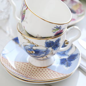 French Blue Teacup & Saucer Set