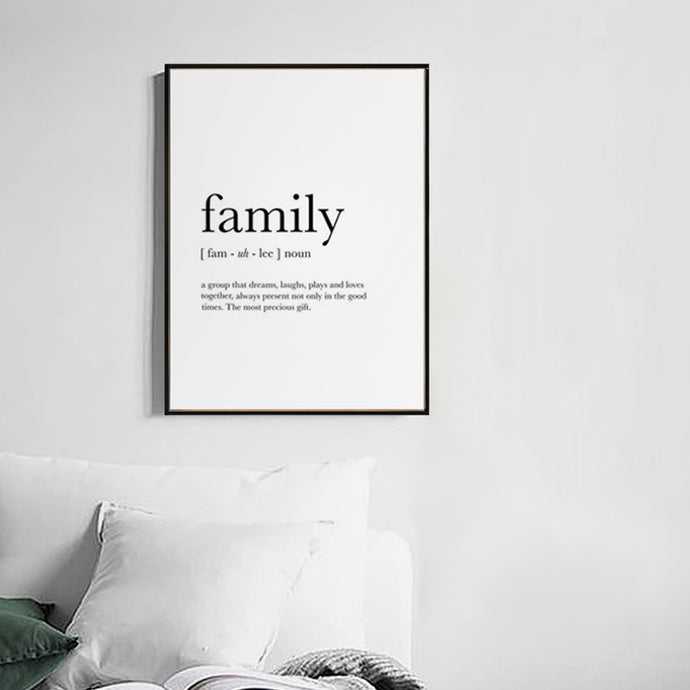 Family Meaning Framed Canvas Art
