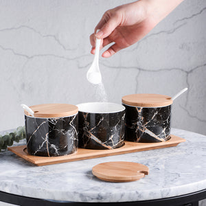 Black Marble Spices Holder Set