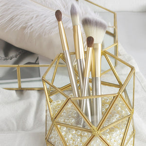 Cosmetic Brushes Antiqued Brass Holder
