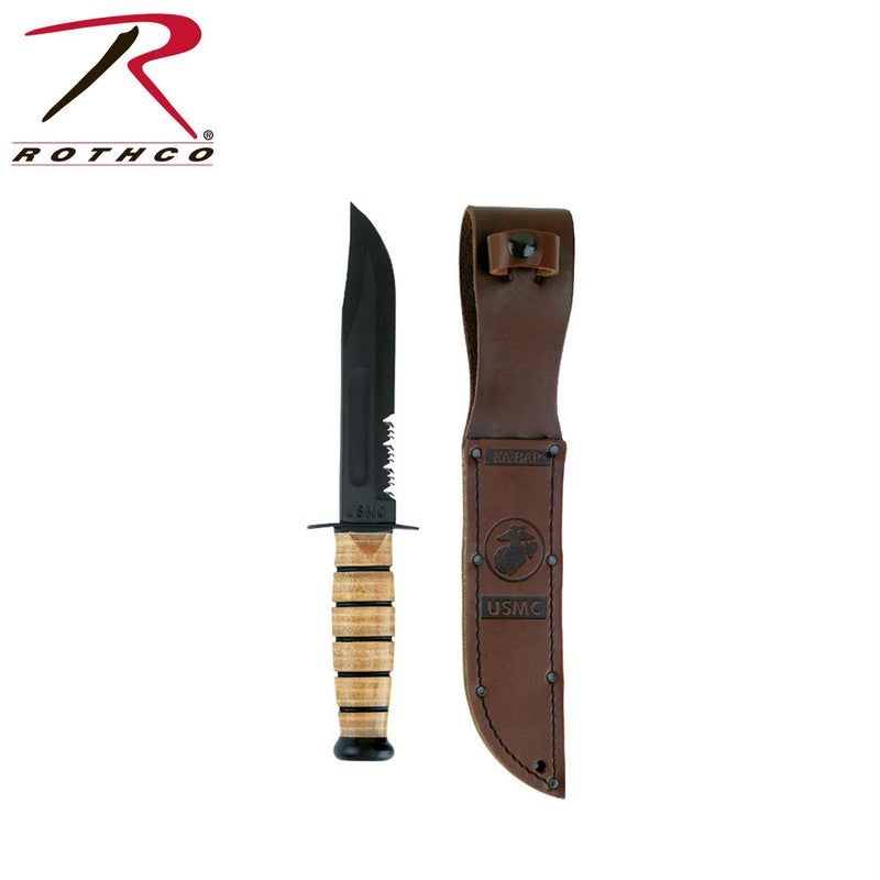 Genuine Ka-Bar USMC Combo Edge Fighting Knife - Balog Combat Systems (BCSTACTICAL), Knives