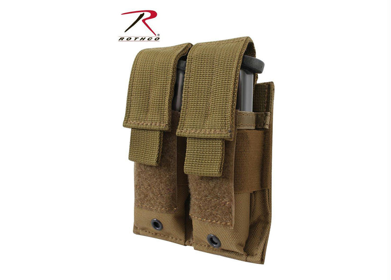 Rothco Double Pistol Mag Pouch - Molle - Balog Combat Systems (BCSTACTICAL), Molle Pouches