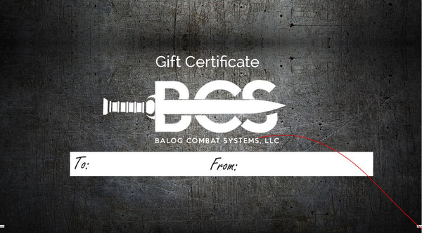Balog Combat Systems B.C.S. Gift Certificate for CCW and Self Defense Courses Lake Geneva, Oak Creek, Kenosha, Racine, Walworth County, Wisconsin