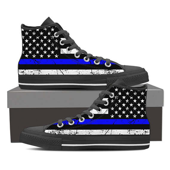 Blue Lives Matter American Flag Hi Top Sneakers - Balog Combat Systems (BCSTACTICAL), Clothing