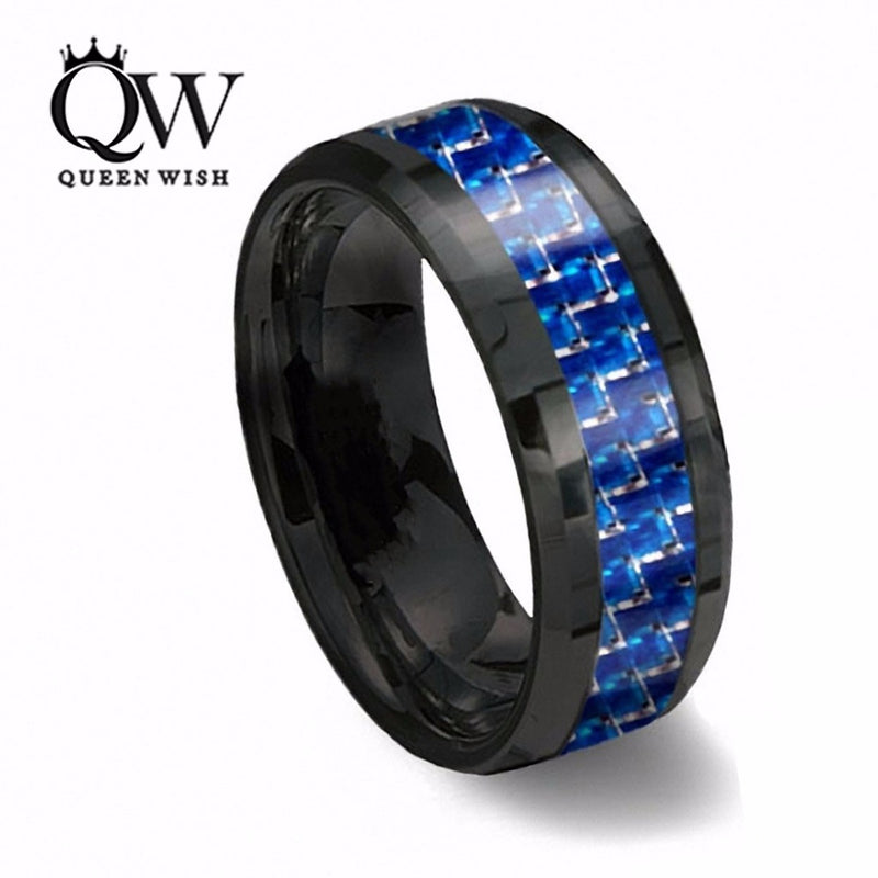 Queenwish 8mm Black Tungsten Ring With Thin Blue & white Line Carbon Fiber Statement Couple Rings Wedding Bands Size 6-13 - Balog Combat Systems (BCSTACTICAL),
