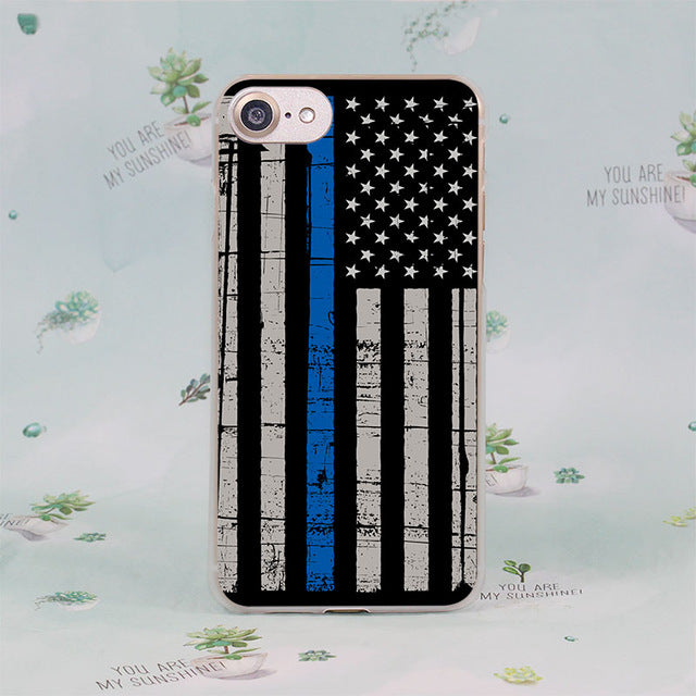 MOUGOL Thin Blue Line American US Flag design transparent clear hard case cover for Apple iPhone 7 7Plus 6S 6 Plus 5 5s SE 5C - Balog Combat Systems (BCSTACTICAL),
