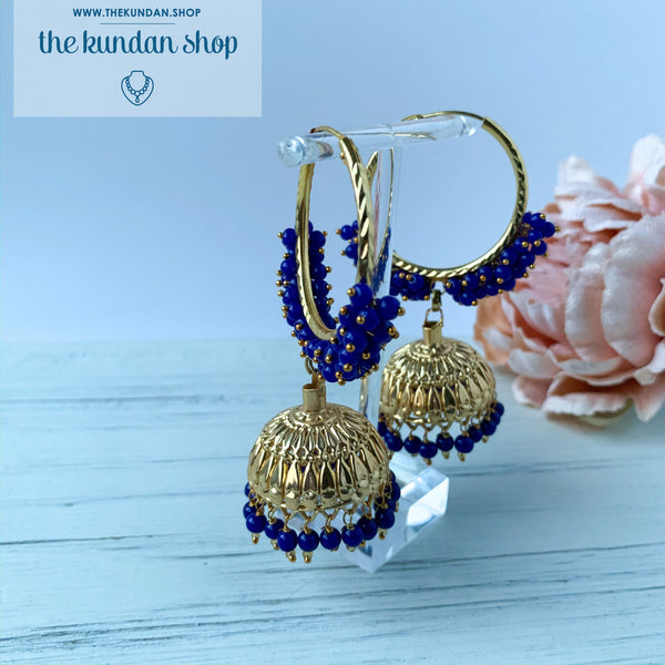 Statement Blue Baali, Earrings - THE KUNDAN SHOP