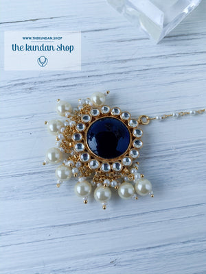 Blue Tides - Tikka Set, Earrings + Tikka - THE KUNDAN SHOP