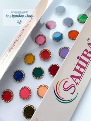 17 PC Multi Color Velvet & Rhinestone Bindi, Bindis - THE KUNDAN SHOP