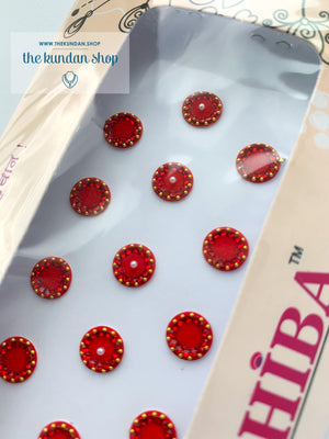 19 PC Red & Pearl Rhinestone Bindi, Bindis - THE KUNDAN SHOP