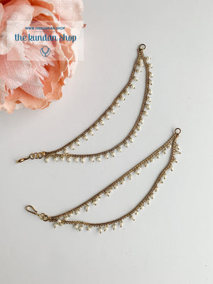 2 Layer Antique & Pearl Saharay Sahara Earrings THE KUNDAN SHOP