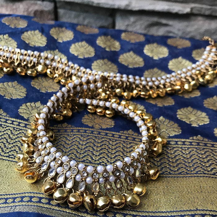 Pearls & Bells, Anklets - THE KUNDAN SHOP