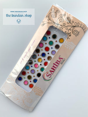27 PC Multi Color Rhinestone Bindi, Bindis - THE KUNDAN SHOP