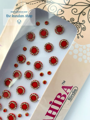 27 PC Red & Gold Rhinestone Bindi - Small, Bindis - THE KUNDAN SHOP