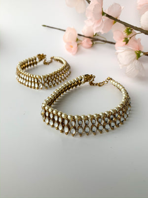 Double Stone Anklets, Anklets - THE KUNDAN SHOP