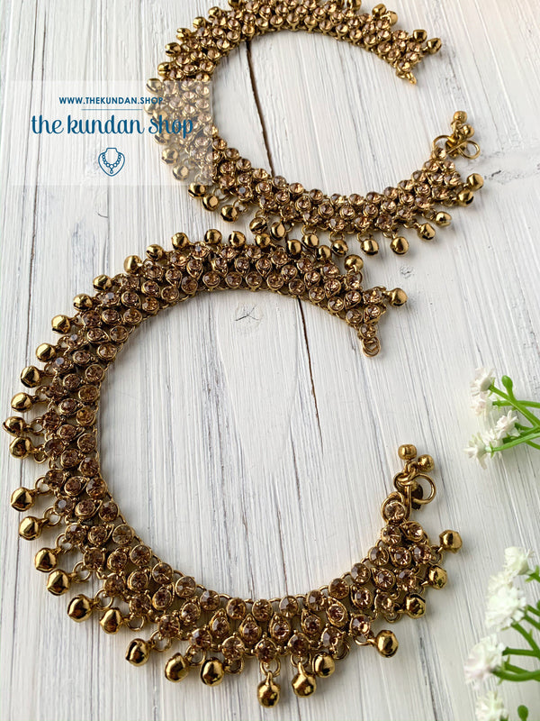 Rhinestone 3-Layer Anklets, Anklets - THE KUNDAN SHOP