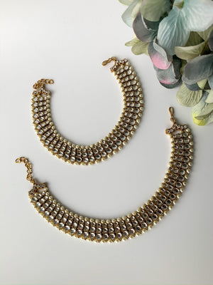 Trio Stone Anklets, Anklets - THE KUNDAN SHOP