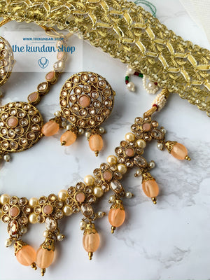 Meet in the Middle - Peach, Necklace Sets - THE KUNDAN SHOP
