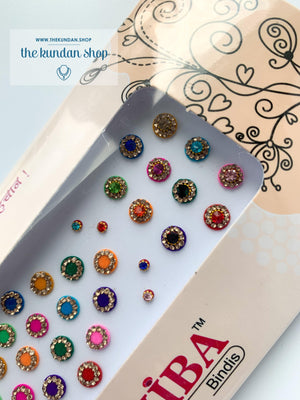 36 Mini MultiColor Rhinestone Bindis, Bindis - THE KUNDAN SHOP