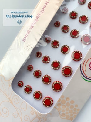 36 PC Red & Gold Rhinestone Bindi - Medium to Small, Bindis - THE KUNDAN SHOP